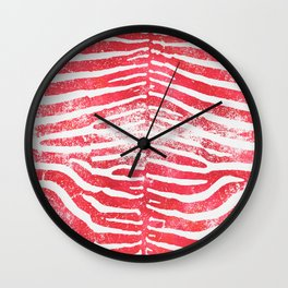 Zebra Stripes | Distressed Red and White | Watercolor Animal Print Art Wall Clock