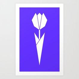 Origami Flower (white + blue) Art Print