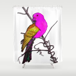One King Parrot - Pink Shower Curtain