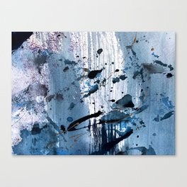 Breathe [6]: colorful abstract in black, blue, purple, gold and white Canvas Print