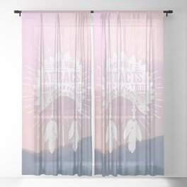 Your Vibe Attracts Your Tribe - Sunset Mountains Sheer Curtain