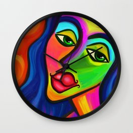 Abstract Fauvist Portrait Wall Clock