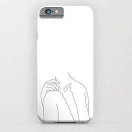 Woman's body line drawing illustration - Cathy iPhone Case
