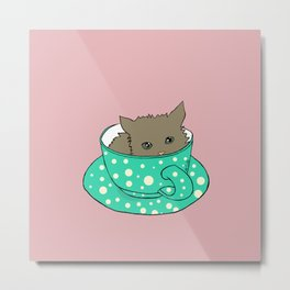 Fluffy Kitten In A Teacup Pink Background Metal Print