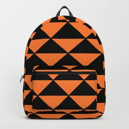 GRAPHIC GRID TRIANGLE ABSTRACT DESIGN (BLACK AND ORANGE) SERIES 2 OF 6 Backpack