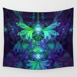 The Clockwork Kite Wings of a Blue-Green Dragonfly Wall Tapestry