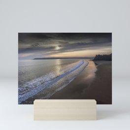 Sunset at Three Cliffs Bay Mini Art Print