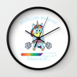 "Unicorn Star Gym Nice Leg Day Shirt ""Installing Muscles"" T-shirt Design Dumbbell Funny Fitness Wall Clock"