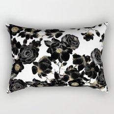 Modern Elegant Black White and Gold Floral Pattern Rectangular Pillow