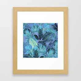 Tropical Leaf Aqua Framed Art Print