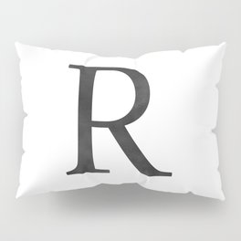 Letter R Initial Monogram Black and White Pillow Sham