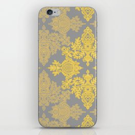 Golden Folk - doodle pattern in yellow & grey iPhone Skin