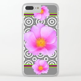 Modern Art Style Shasta Daisy Pink Roses  Grey color Abstract art Clear iPhone Case