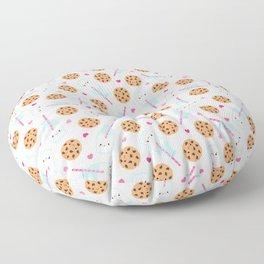 Happy Milk and Cookies Pattern Floor Pillow