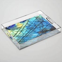 Royal Labradorite Crystal Agate Gemstone Print Acrylic Tray