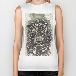 leopard black and white Biker Tank