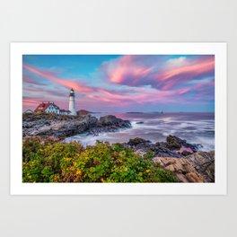 Portland Head Light at Sunset - Cape Elizabeth Maine Art Print