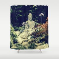 om Shower Curtains featuring OM  by Lucca Nazario