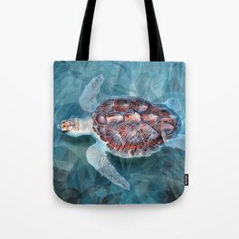 Sea Turtle In The Waves Tote Bag