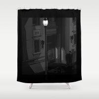 noir Shower Curtains featuring Noir by Pierre Simonnet
