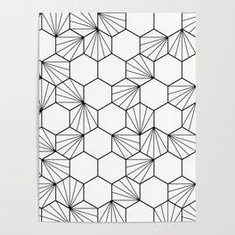 Peacock comb black white geometric pattern Poster