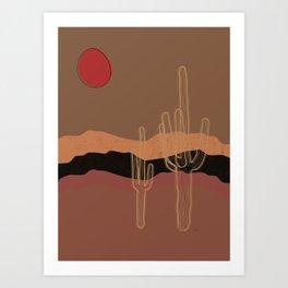 Brown Saguaro Cactus  Art Print