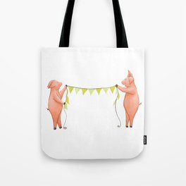 The pigs put out the Bunting! Tote Bag