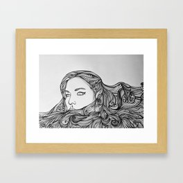 Girl with the swirling hair Framed Art Print