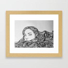 Girl with the swirling hair Framed Art Print