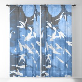 Blue fish Sheer Curtain