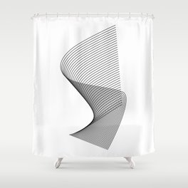 """""""Linear Collection"""" - Minimal Letter S Print Shower Curtain"""