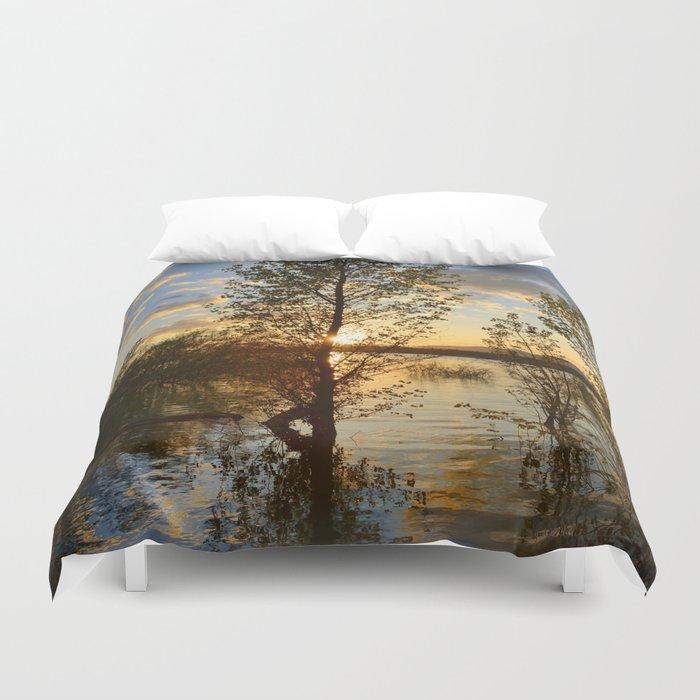 """""""Sun through the trees"""". Spring sunset. Duvet Cover"""