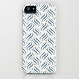 Dark Blue Wavy Tessellation Line Pattern on Off White - 2020 Color of the Year Chinese Porcelain iPhone Case
