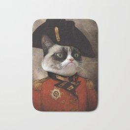 Angry cat. Grumpy General Cat. Bath Mat