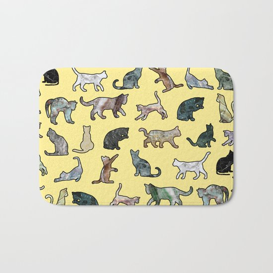 Cats shaped Marble - Sun Yellow Bath Mat