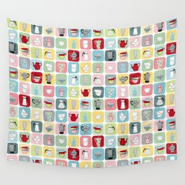 Retro Coffee Pots and Cups Pattern Wall Tapestry
