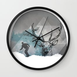 Cool Snowboarding Pattern Wall Clock