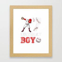 7th Birthday Boy Baseball Player Shirt Boy Kids Toodler Framed Art Print