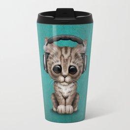 Cute Kitten Dj Wearing Headphones on Blue Travel Mug