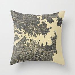 Sydney map yellow Throw Pillow