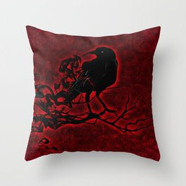 The Red Raven Throw Pillow