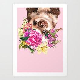 Flower Crown Baby Sloth in Pink Art Print