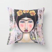 tina fey Throw Pillows featuring La-Tina by Natalie Briney