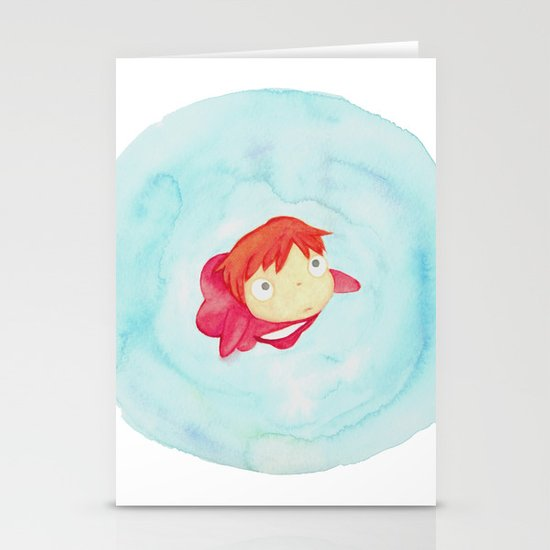 Ponyo Watercolor Stationery Cards