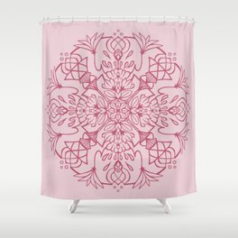 Lotus Mandala - Valentines Pink Shower Curtain
