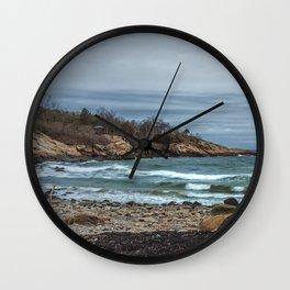 Grey Day Waves at Folly Cove Wall Clock