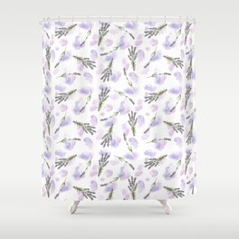 Watercolour Lavender - repeat floral pattern Shower Curtain
