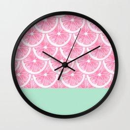 Zesty splice - pink grapefruit Wall Clock