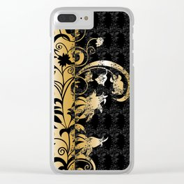 Abstract floral ornament in black and gold colors Clear iPhone Case