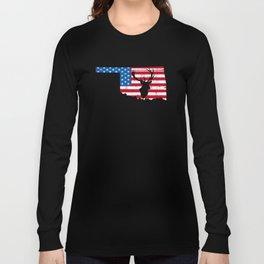 American Flag Oklahoma Deer Hunting Patriotic T-Shirt Long Sleeve T-shirt